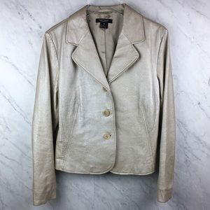Karen Kane Lifestyle Shimmery Cream Leather Jacket